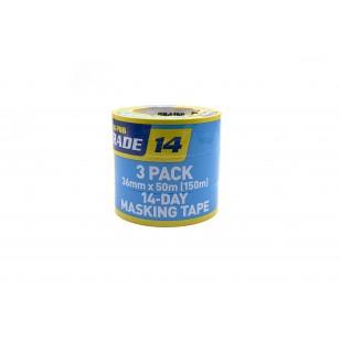 14-Day Blue Masking Tape 36mm x 50m 3 Pack
