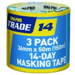 14-Day Blue Masking Tape 36mm x 50m 3 Pack